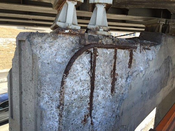 MDOT recently discovered a deteriorating support column at the I-94/I-75 interchange in Detroit. - MDOT