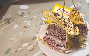 Michael's corned beef, pastrami, cole slaw, Russian dressing and Swiss cheese on an onion roll, from Parrot Cove. - MT PHOTO: ROB WIDDIS