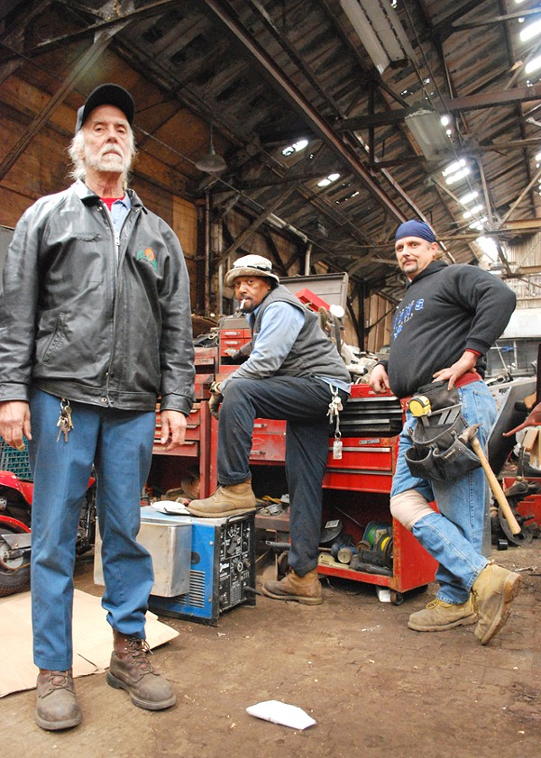 Minister Allan, Mechanic Greg and Carpenter Jeff inside their home at the Packard Plant. - DETROITBLOGGER JOHN