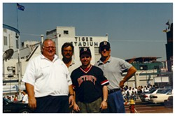 My childhood friend (and fellow second baseman) Jon Reischel, second from right, before the final game at Tiger Stadium, Sept. 27, 1999. - THE REISCHEL COLLECTION
