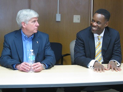Gov. Rick Snyder and Emergency Manager Kevyn Orr - PHOTO BY CURT GUYETTE