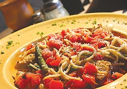 Pasta bruschetta from Maria's Front Room. - MT PHOTO: ROB WIDDIS