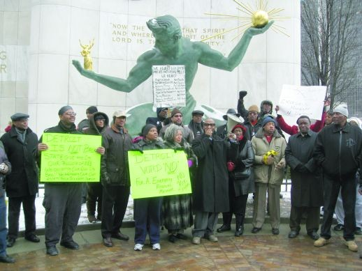 Protesters send a message Monday to Detroit's new boss.