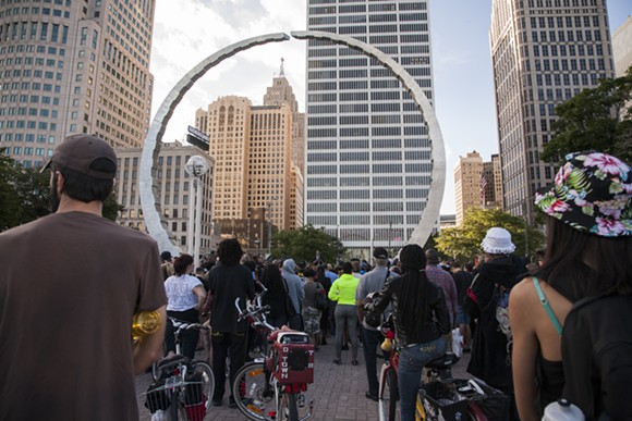 National Moment of Silence vigil held for Michael Brown in Detroit's Hart Plaza on Aug. 18, 2014. - COURTESY OF JENNEATTE FLEURY