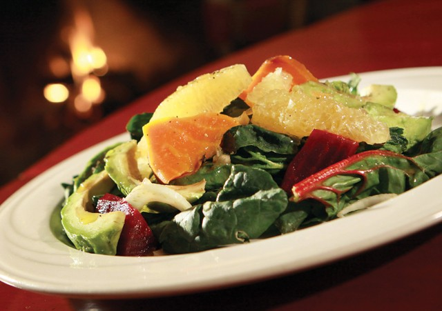 Roasted beet salad, with avocado, shaved fennel, orange segments, greens with red wine and honey vinaigrette from St. CeCe's Pub in Detroit.