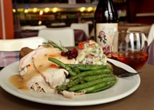 Roasted turkey dinner with smashed potatoes and fresh green beans from Mudgie's Deli in Detroit.