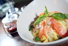 ROB WIDDIS - Rujak, mango papaya salad with steamed shrimp, shredded green papaya, mango, carrots, red onion, tomatoes in a lime fish sauce, from Indo in Keego Harbor.