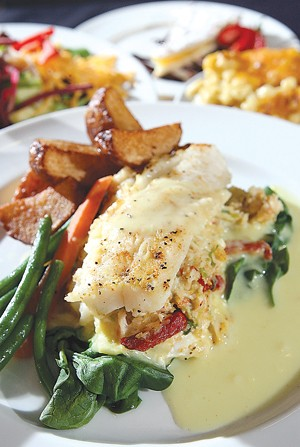Scro Louie: Scrod stuffed with sun-dried tomatoes and crab. - MT PHOTO: ROB WIDDIS