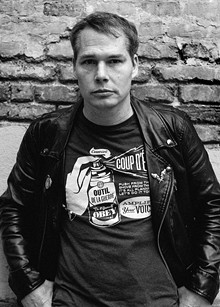 Shepard Fairey, shown modeling a selection of his Obey clothing line.
