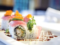 Shrimp tempura sushi roll topped with Ahi tuna. - MT PHOTO: ROB WIDDIS