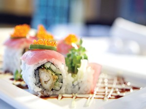 Shrimp tempura sushi roll topped with Ahi tuna. - MT PHOTO: ROB WIDDIS