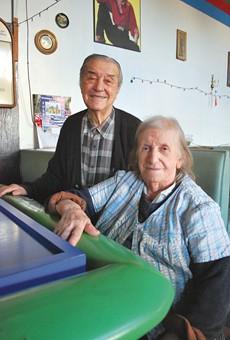Steve and Sophie inside their longtime bar.