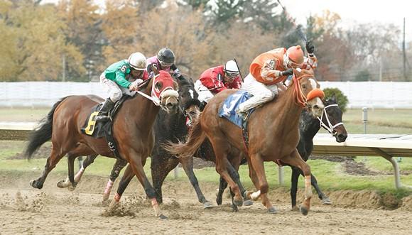 T.D. Houghton rides La Panchita (3) to victory last November at Cleveland's Thistledown Racino. - JEFF ZAMAIKO