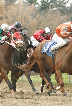 T.D. Houghton rides La Panchita (3) to victory last November at Cleveland's Thistledown Racino.