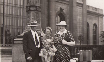 The author's father with his mother (center) and visiting relatives, in front of Michigan Central Station, c. 1941. - AUTHOR'S PERSONAL COLLECTION