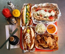 The D, lower left, Chicago Slips, lower right, Chicago Dawg, top left, and the Laikon, top right, from Atomic Dawg in Berkley.