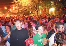 The Dally's live music (top) often packs in throngs on Forest (above).