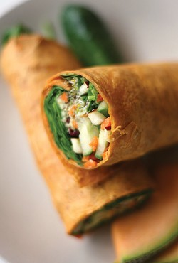 The Hippie Dippie Sh*t Man wrap: avacado, baby spinach, alfalfa sprouts, walnuts, dried cranberries, diced apples, shredded carrots and cucumber with raspberry vinaigrette rolled in lavash bread. - MT PHOTO: ROB WIDDIS