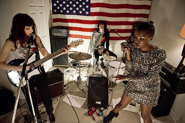 """The Pretty Ghouls: Stawski on guitar, drummer Grech and singer Mock. Whatever you do, do not request """"The Sweetest Taboo."""""""