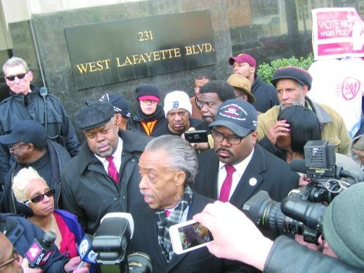 The Rev. Al Sharpton and other activists announce the filing of a federal lawsuit challenging the constitutionality of Michigan's Emergency Manager Law.