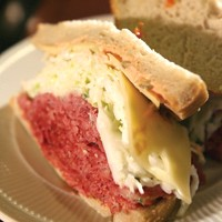 The West Side Story corned beef sandwich with coleslaw and Swiss cheese. - MT PHOTO: ROB WIDDIS