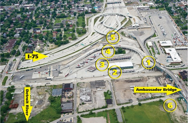 This Michigan Department of Transportation photo was entered as evidence in the court case against the Detroit International Bridge Company. Annotations by Metro Times.
