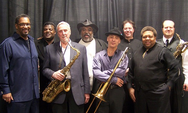 Trombonist Paxton and saxophonist Steiger (far right) have been there for the long haul.
