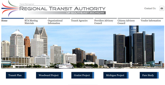 The Southeast Michigan Regional Transit Authority, with a website of its very own. - VIA SCREENSHOT (RTAMICHIGAN.ORG)