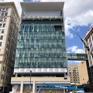 Pizza-shaped windows are finally nearing completion at Little Caesars headquarters