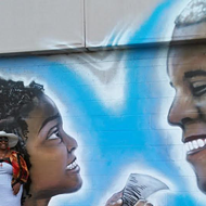 President Obama and Little Miss Flint featured in mural