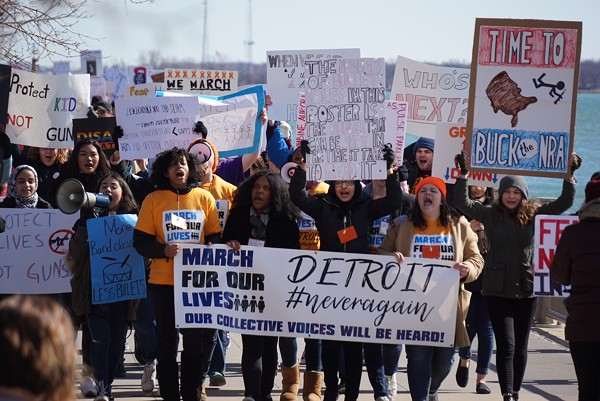 Detroit students march along the Detroit River on Saturday, March 24 to protest gun violence. - JAY JURMA