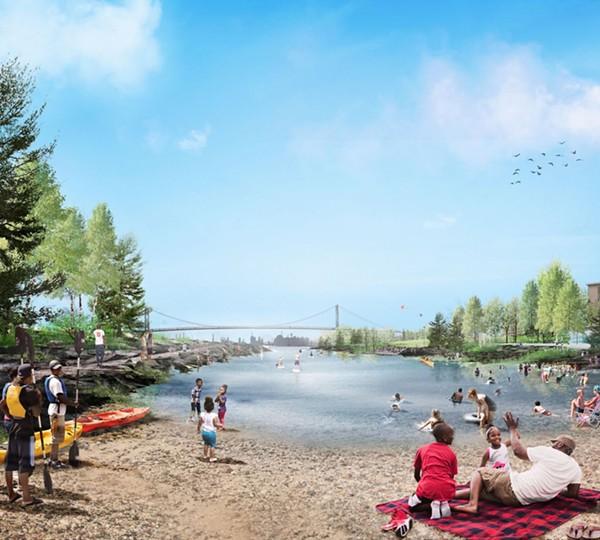 Part of proposed design for West Riverfront Park. - DETROIT RIVERFRONT CONSERVANCY