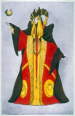 Concept art of Queen Amidala's Senate Gown in Star Wars: The Phantom Menace. - 2018 LUCASFILM LTD.