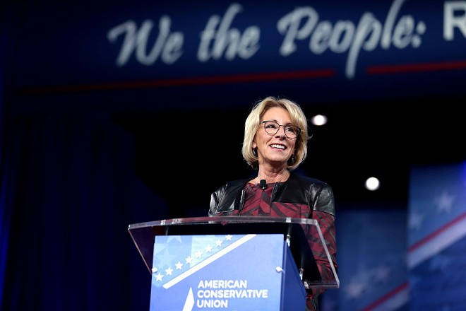Betsy DeVos speaking at the 2017 Conservative Political Action Conference in National Harbor, Maryland. - GAGE SKIDMORE