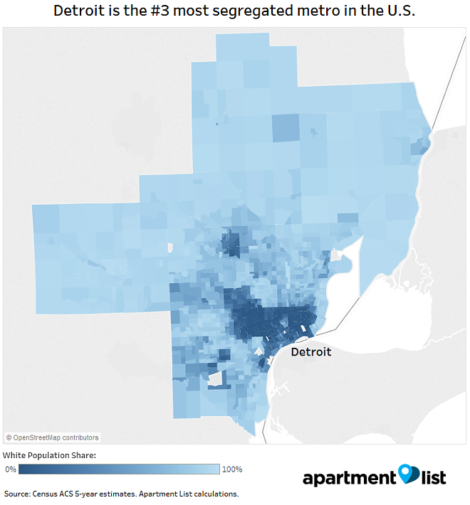 Apartment List researcher Chris Salviati renders metro Detroit segregation in map form. - COURTESY APARTMENT LIST