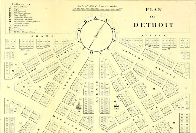 Woodward's plan, including several blocks downtown as they actually exist today. - COURTESY BURTON COLLECTION