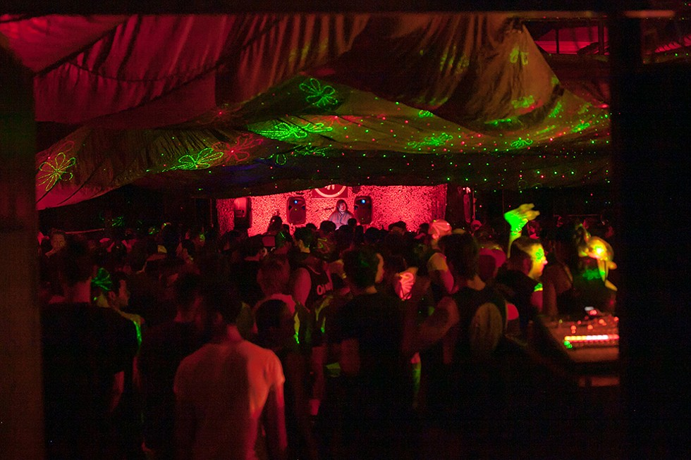 Detroit techno label Interdimensional Transmissions throws its famed 'No Way Back' party at Tangent Gallery during Movement Electronic Music Festival in 2016. - AMY HUBBARTH