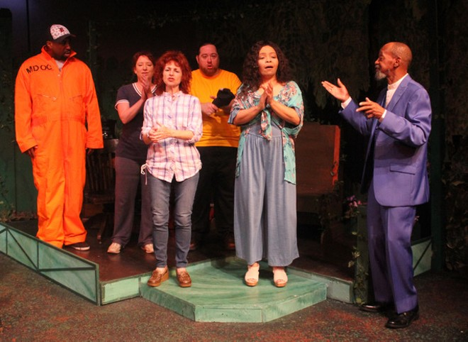 The cast of the Rep's new play is (l to r) Will Bryson, Leah Smith, Linda Rabin Hammell, Aral Gribble, Jenaya Jones Reynolds, and Cornell Markham. - PHOTO COURTESY THE DETROIT REPERTORY THEATRE