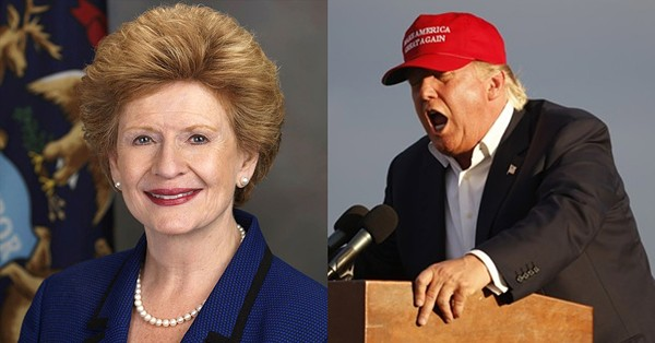 Michigan Sen.  Debbie Stabenow and Donald Trump.