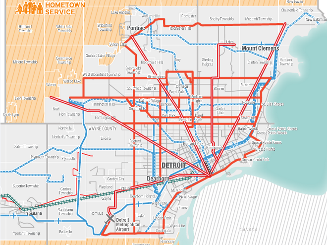 Map of routes that would be created by Connect Southeast Michigan, the regions latest transit proposal. - COURTESY, CONNECT SOUTHEAST MICHIGAN