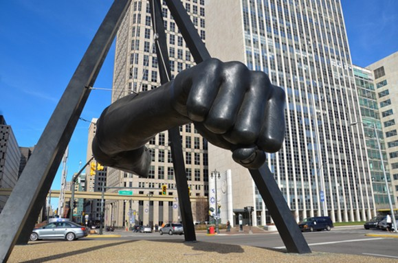 "Though it's often called simply ""the fist,"" the iconic Detroit artwork is a monument to Detroit's most famous boxer, Joe Louis. - COURTESY SHUTTERSTOCK"