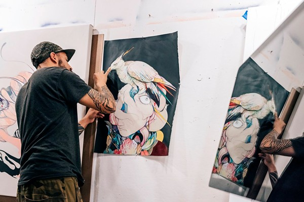Artist Jose Mertz at work. - PHOTO VIA RED BULL ARTS DETROIT FACEBOOK