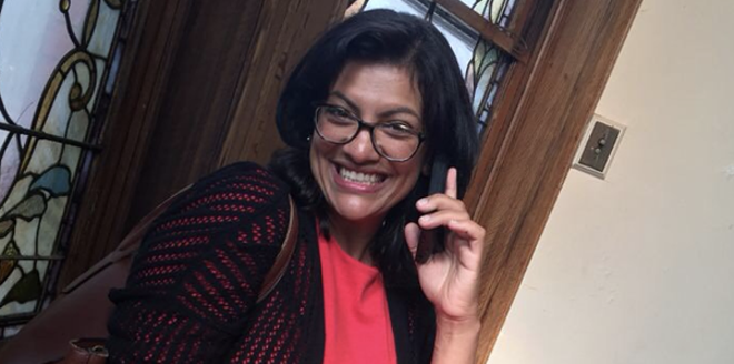 Rashida Tlaib, the Democratic primary winner for Michigan's 13th congressional district, takes a call from Sen. Bernie Sanders. - TWITTER, @RASHIDATLAIB