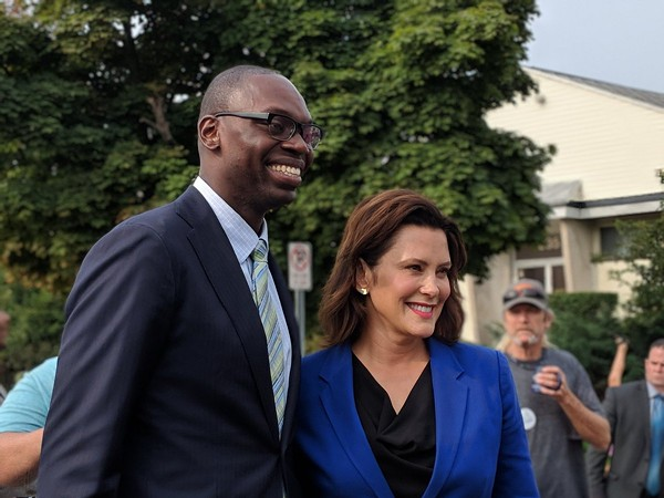Gretchen Whitmer and running mate, Garlin Gilchrist II. - VIA TWITTER USER @JONATHANOOSTING