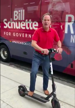 Republican gubernatorial candidate Bill Schuette promoting Bird scooters in Detroit - COURTESY OF TWITTER