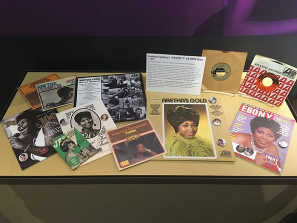 """Aretha Franklin memorabilia on display at the Detroit Historical Museum, including a rare """"Respect"""" test pressing. - LEE DEVITO"""