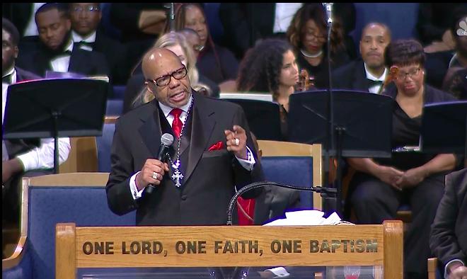Rev. Jasper Williams delivers Aretha Franklin's eulogy. - SCREENGRAB