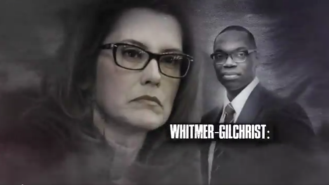 Screen grab from Bill Schuette's latest attack ad against Gretchen Whitmer. - SCREENGRAB