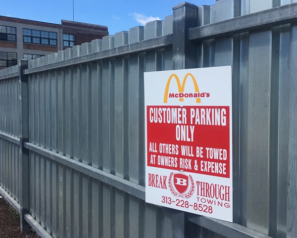 Signage indicates no time limit for McDonald's customers who use the lot. - VIOLET IKONOMOVA