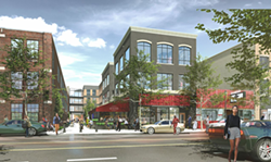 """A street-level view of Trumbull just north of Michigan. The development includes a """"greenway,"""" and we think it's that walkable area next to the restaurant with outdoor seating. - ARTIST RENDERING"""